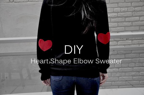 DIY Heart Shape Elbow Sweater