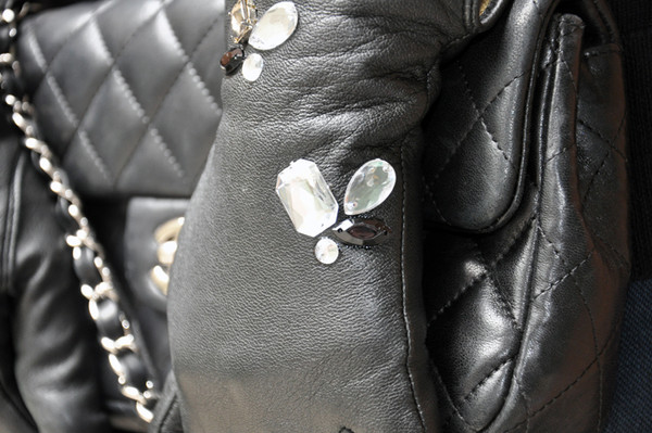 DIY Leather Jeweled Gloves - Close Up