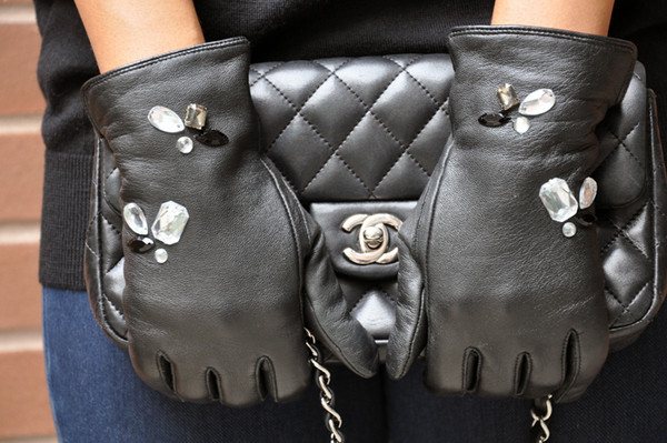 DIY Leather Jeweled Gloves