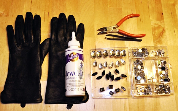 DIY Leather Jewelled Gloves How To - Step One