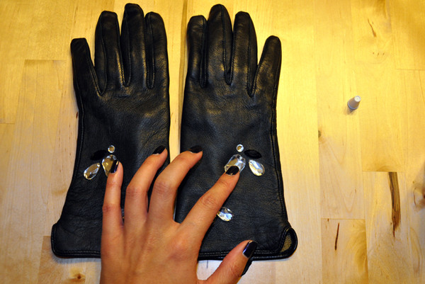 DIY Leather Jeweled Gloves How To - Step 3