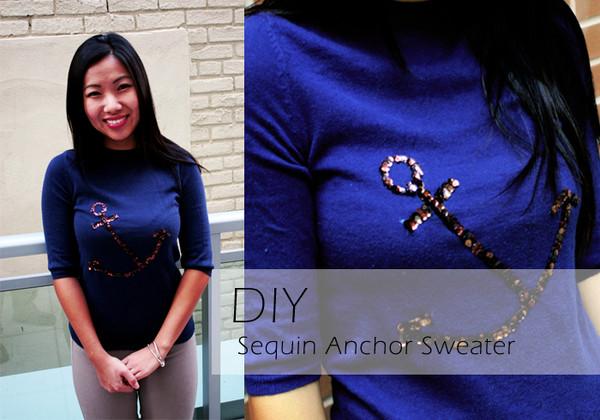 DIY Sequin Anchor Sweater