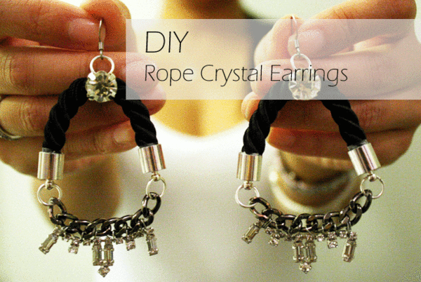 DIY Rope Crystal Earrings