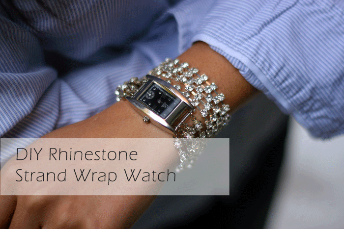diy rhinestone strand wrap watch, rhinestone watch, diy watch