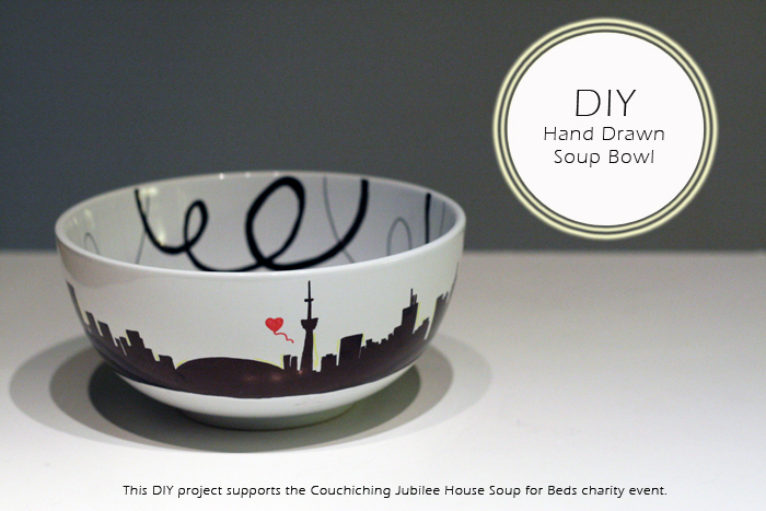 Bowls for Beds Charity Event, DIY Hand Drawn Bowl, DIY Bowl, Sharpies, Toronto Skyline