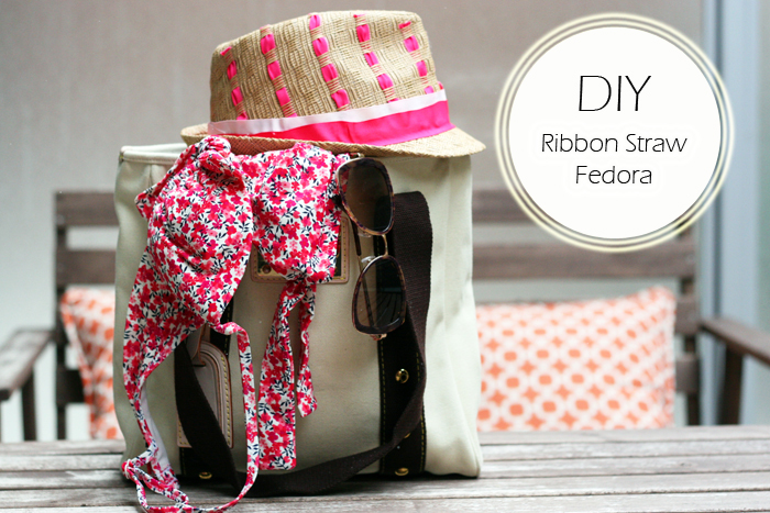 DIY Ribbon Straw Fedora/Hat