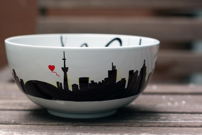 Toronto Skyline, Bowls for Beds Charity Event, DIY Hand Drawn Bowl, DIY Bowl, Sharpies