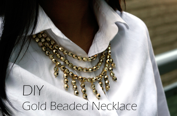 DIY Gold Beaded necklace