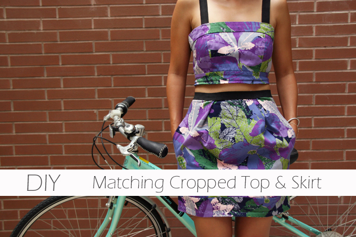 DIY Refashion, DIY crop top skirt, DIY cropped top skirt, DIY matching prints, cropped top, matching prints