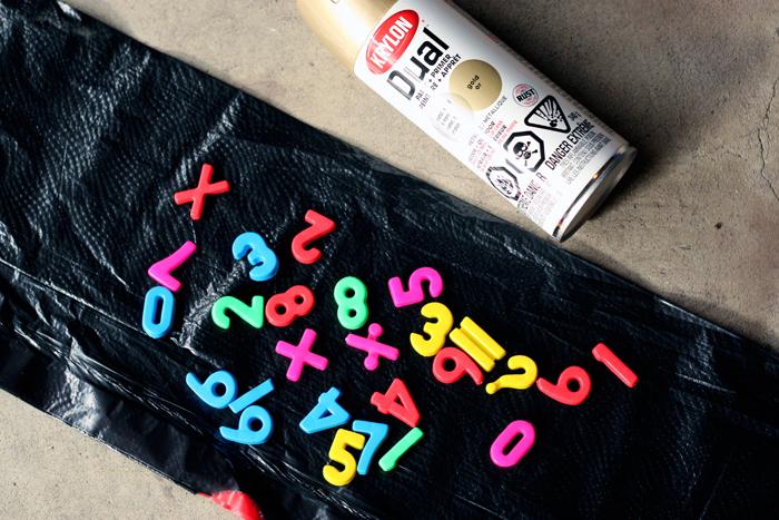 DIY magnets, DIY number magnets, DIY gold magnets, DIY alphabet magnets