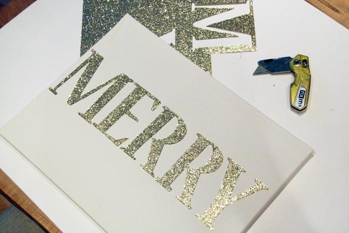 DIY Merry Glitter Canvas Print