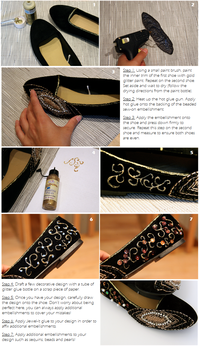 DIY Embellished Velvet Flats Tutorial