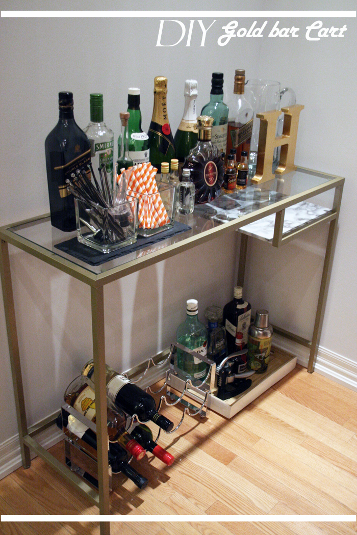 DIY Gold bar cart, diy bar cart ikea hack, diy bar cart