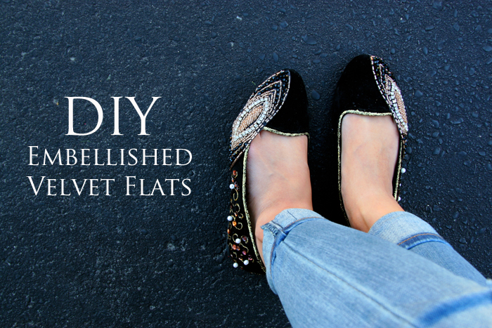 DIY embellished jewel flats