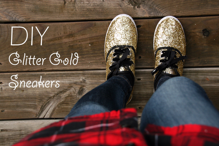 DIY Glitter Gold Sneakers