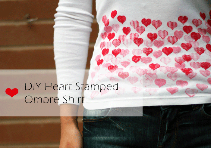 DIY heart stamped ombre shirt, valentine's day diy