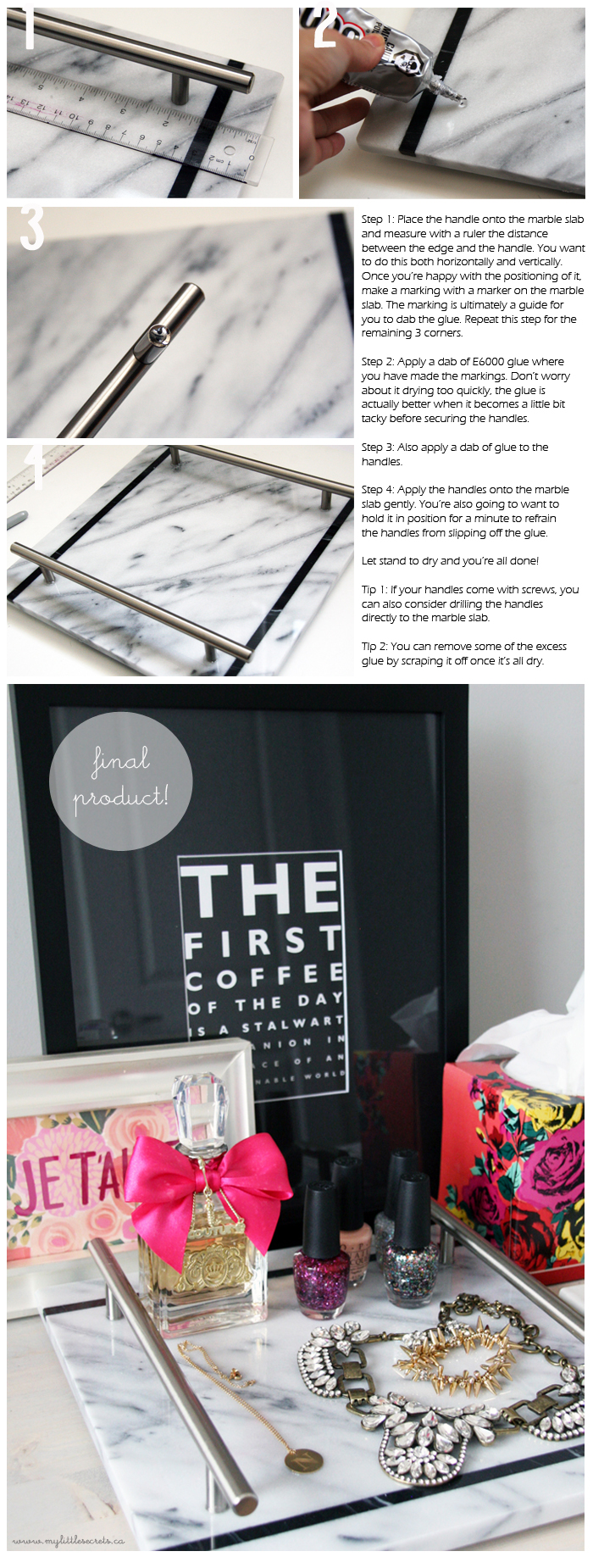 DIY Marble Vanity Tray - step by step