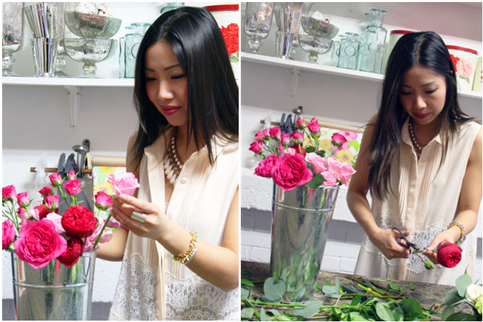 DIY floral arrangement wearing MINKPINK