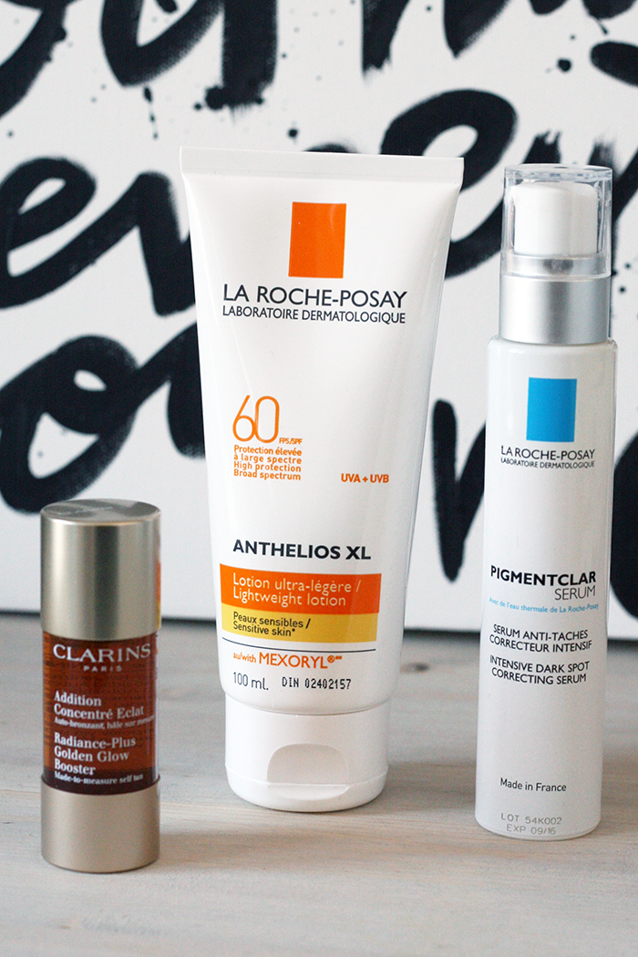 Spring skincare products - sun protection La Roche-Posay Clarins Golden Glow Booster