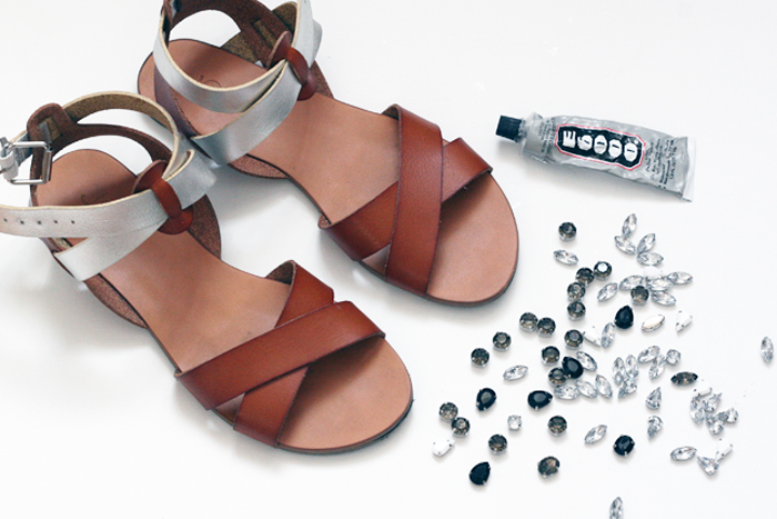 DIY Jeweled Sandals - step by step