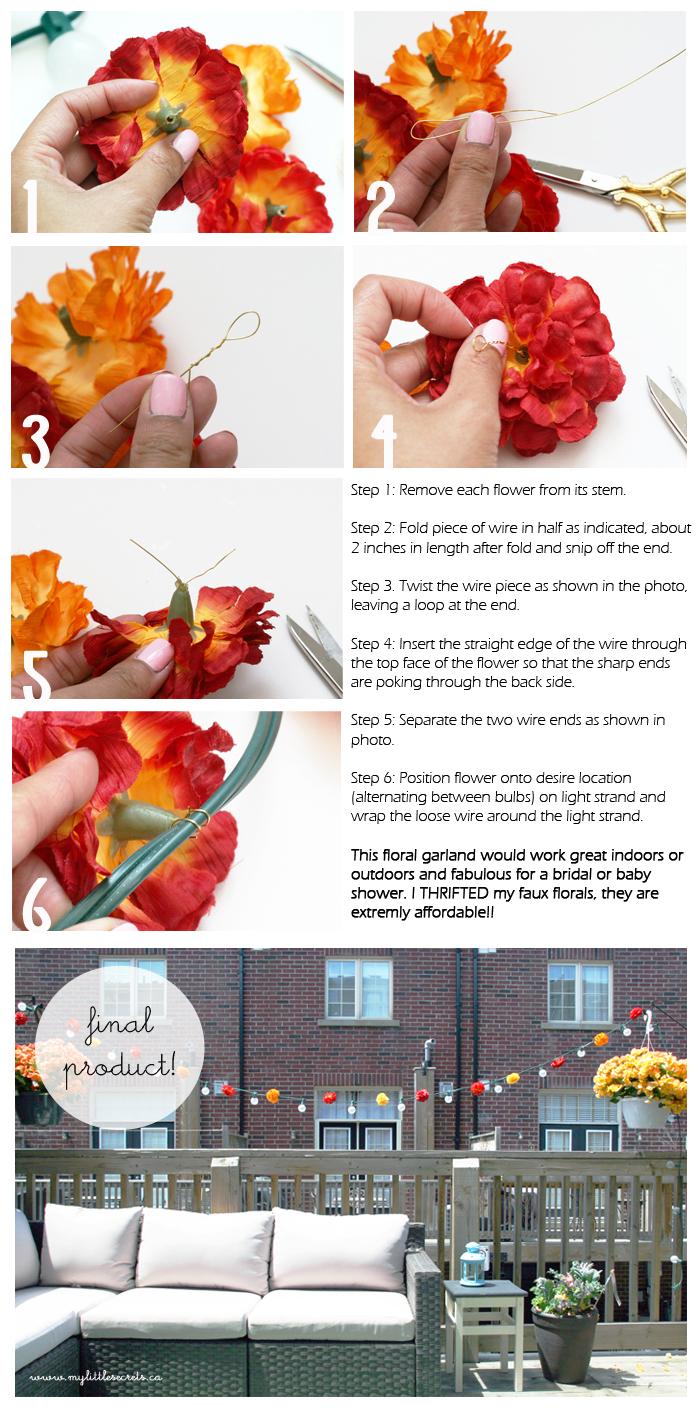 DIY Outdoor Floral Garland Tutorial