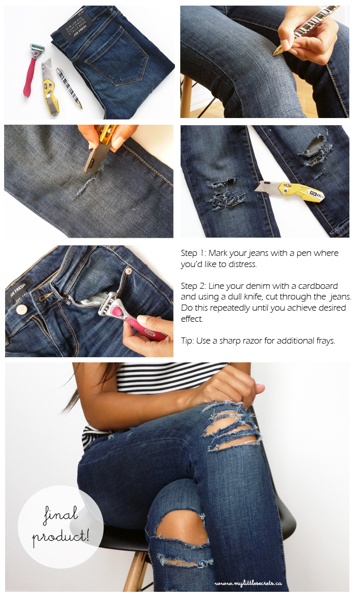 DIY Distressed denim, how to distress denim, how to rip jeans