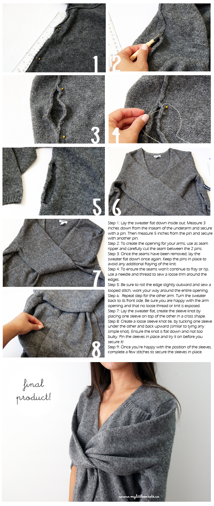 DIY Celine Inspired Faux Sleeve Tie Wrap Sweater Tutotrials