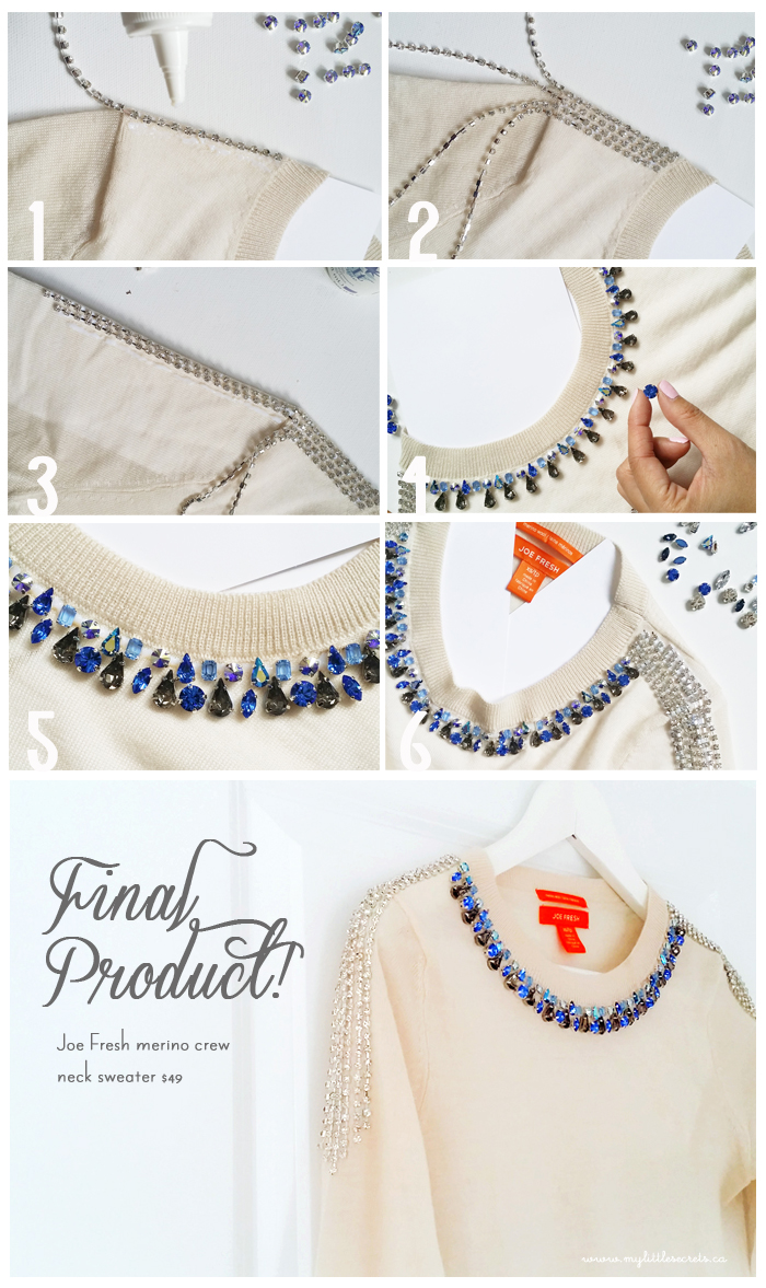 DIY :: Joe Fresh Jeweled Sweater – My Little Secrets
