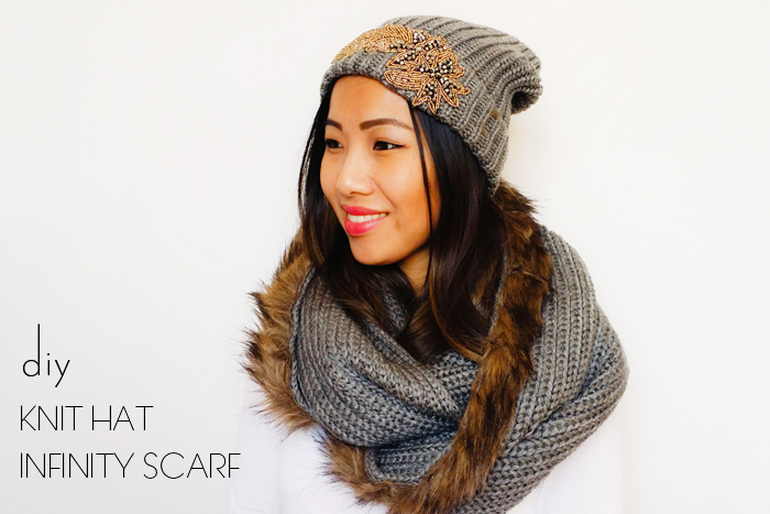 DIY Fur infinity scarf and knit hat Joe Fresh