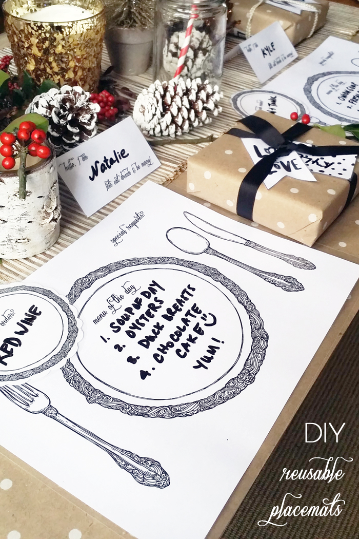 DIY Laminated  Reusable Table Setting Placemats