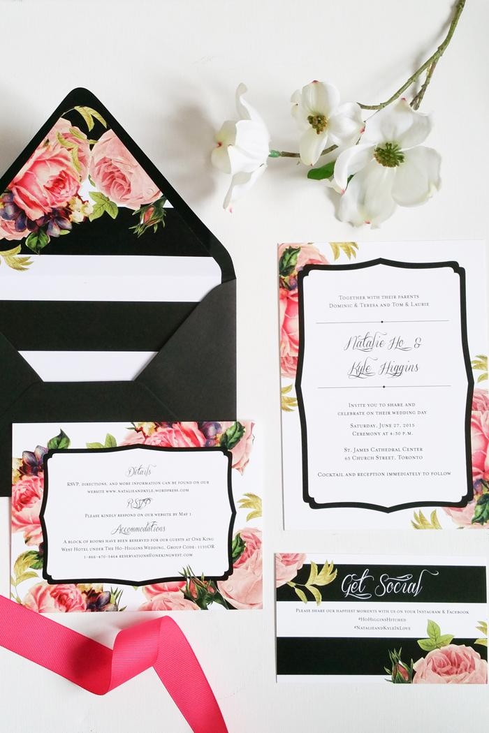 Wedding Invite Modern Romantic Striped
