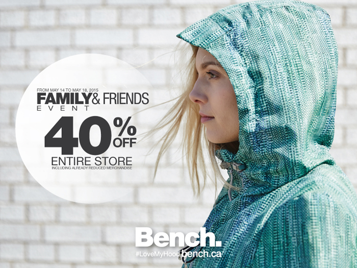 Bench Canada Friends and Family Sale 40% off