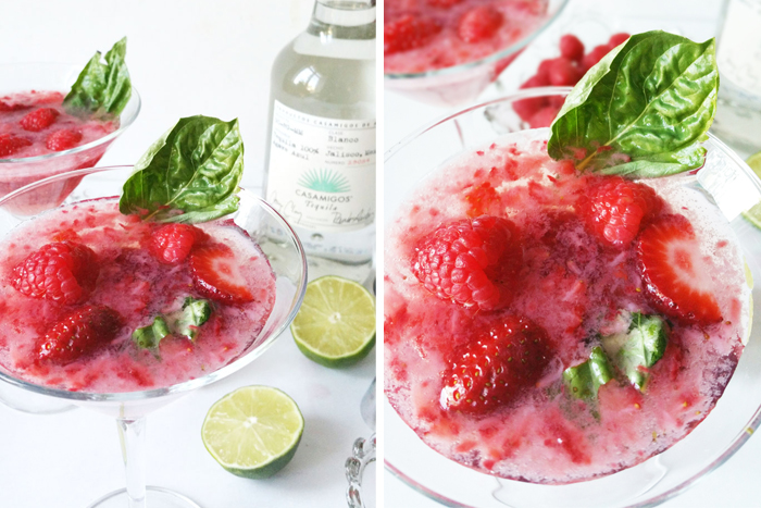 PINK berries basil margaritas