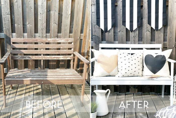 BEHR Paint Project - DIY Painted Patio Bench Before and After