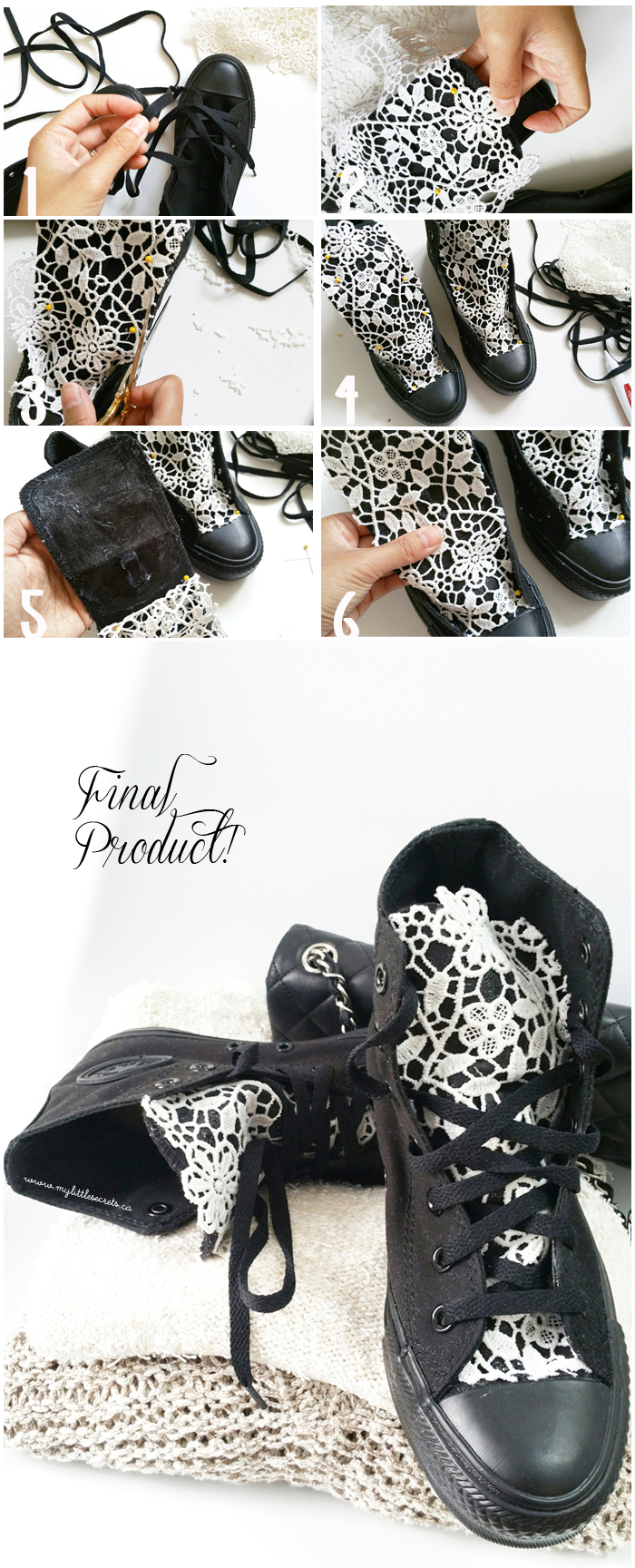 DIY Lace converse sneakers tutorial