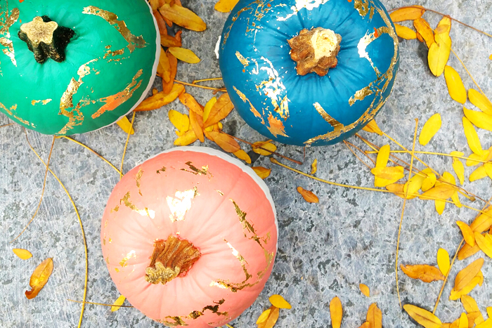 DIY Painted Gold Leaf Pumpkin Behr Paint