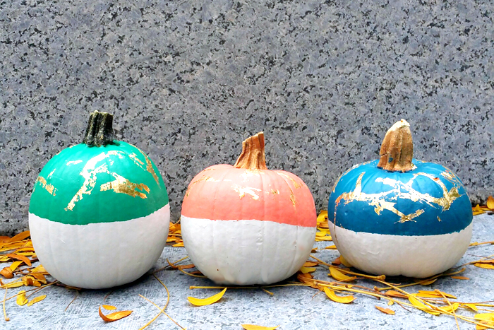 DIY Painted Gold Leaf Pumpkin 5