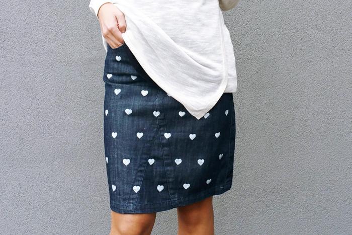 Joe Fresh denim skirt heart print diy