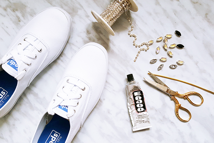 DIY Rhinestone Summer Keds Materials
