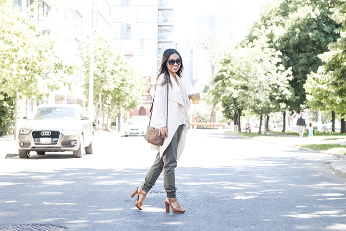 Draped Vest Military Jogger Office Look