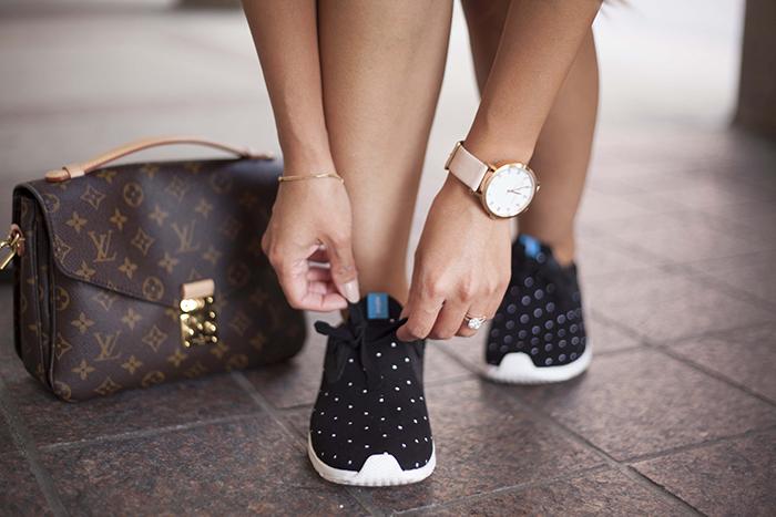 Shoeme Native Polka dot sneakers and Louis Vuitton Pochette Metis