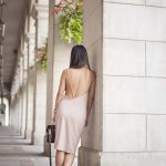 Shop Tobi Backless Nude Dress and Shoeme Native sneakers