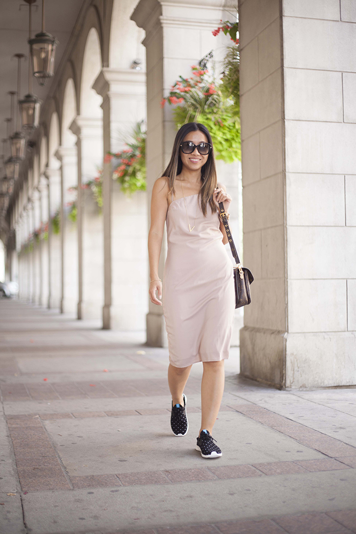 Shop Tobi Backless Nude Dress and Shoeme Native sneakers 2