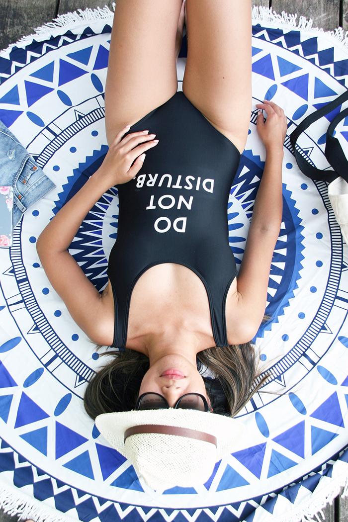 Summer Swim Suit and Round Beach Blanket