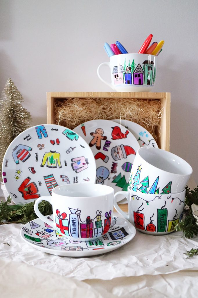 DIY :: Hand Painted Holiday Plates and Mugs Gift Set