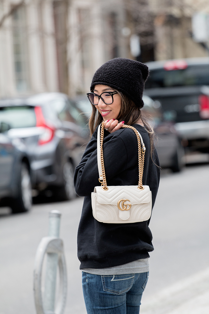 Alley and Rae Comfy AF Sweatshirt GG Marmont Purse
