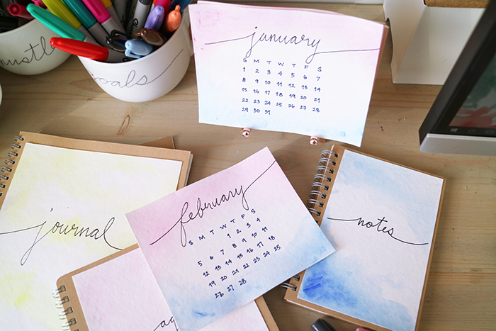 DIY Sharpie Watercolor Desk Calendar