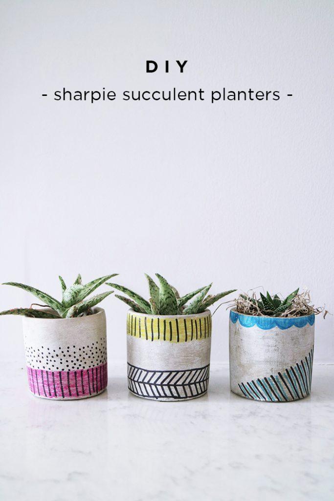 DIY :: Sharpie Succulent Planters {Giveaway}