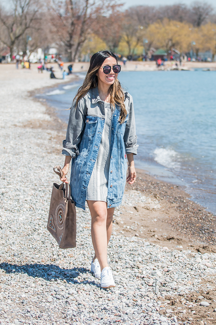 f5d6d1d0659 ... Denim Jacket c o GUESS   Classic Sneakers (Club C 85 Diamond) c o Reebok    Suede Leather Studded Tote c o BRAVE Leather   Striped Dress (old from  ZARA)