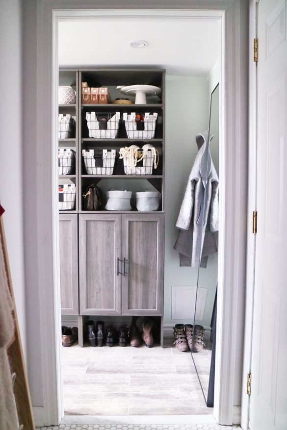 DIY Mudroom The Home Depot Canada ClosetMaid Coastal Teak Shelving and Wire Baskets